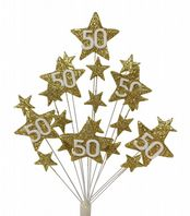 Star age 50th birthday cake topper decoration all in gold - free postage